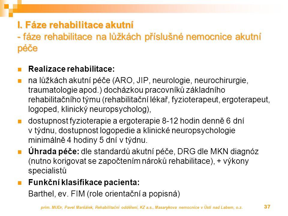 Realizace rehabilitace: na lůžkách akutní péče (ARO, JIP, neurologie, neurochirurgie, traumatologie apod.) docházkou pracovníků základního rehabilitačního týmu (rehabilitační lékař, fyzioterapeut, ergoterapeut, logoped, klinický neuropsycholog), dostupnost fyzioterapie a ergoterapie 8-12 hodin denně 6 dní v týdnu, dostupnost logopedie a klinické neuropsychologie minimálně 4 hodiny 5 dní v týdnu.