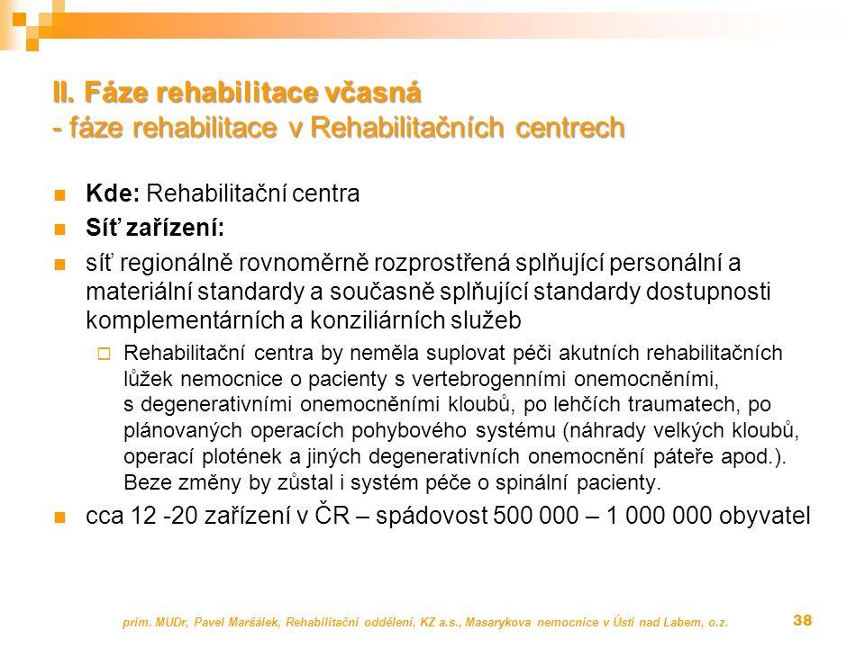 II. Fáze rehabilitace včasná - fáze rehabilitace v Rehabilitačních centrech Kde: Rehabilitační centra Síť zařízení: síť regionálně rovnoměrně rozprost