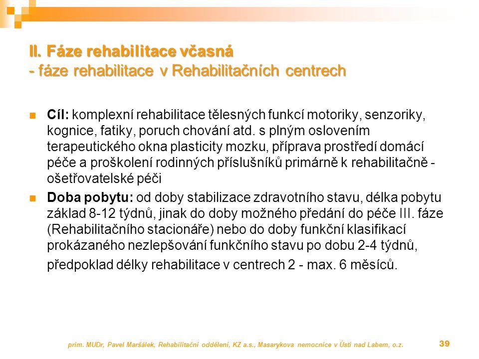 Cíl: komplexní rehabilitace tělesných funkcí motoriky, senzoriky, kognice, fatiky, poruch chování atd.