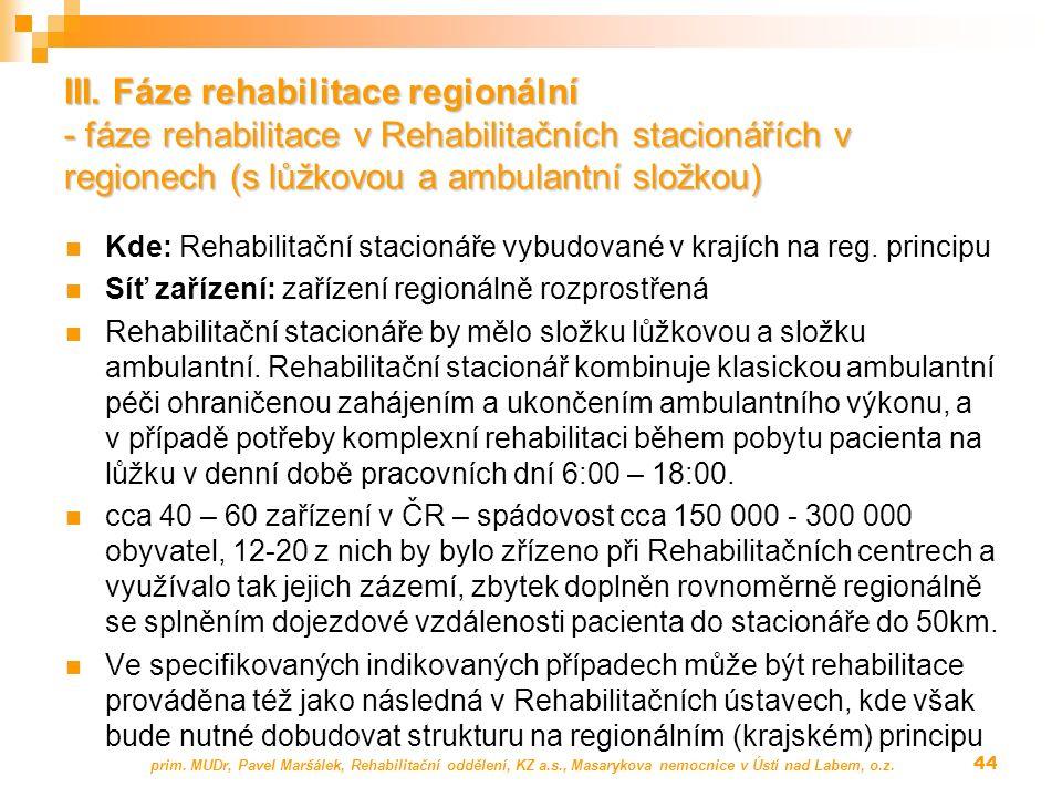 III. Fáze rehabilitace regionální - fáze rehabilitace v Rehabilitačních stacionářích v regionech (s lůžkovou a ambulantní složkou) Kde: Rehabilitační
