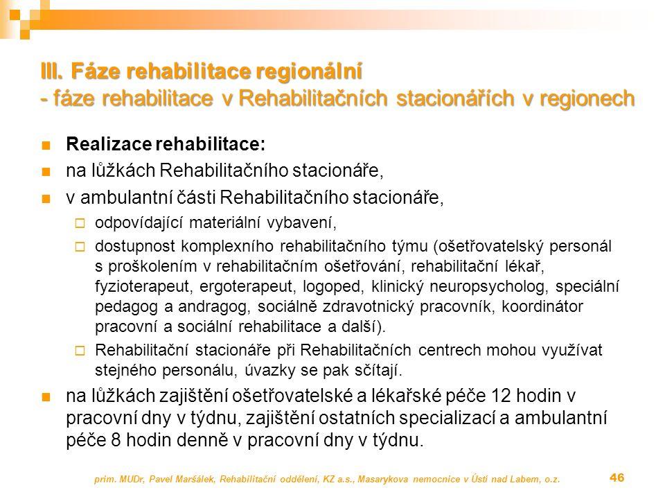 Realizace rehabilitace: na lůžkách Rehabilitačního stacionáře, v ambulantní části Rehabilitačního stacionáře,  odpovídající materiální vybavení,  dostupnost komplexního rehabilitačního týmu (ošetřovatelský personál s proškolením v rehabilitačním ošetřování, rehabilitační lékař, fyzioterapeut, ergoterapeut, logoped, klinický neuropsycholog, speciální pedagog a andragog, sociálně zdravotnický pracovník, koordinátor pracovní a sociální rehabilitace a další).