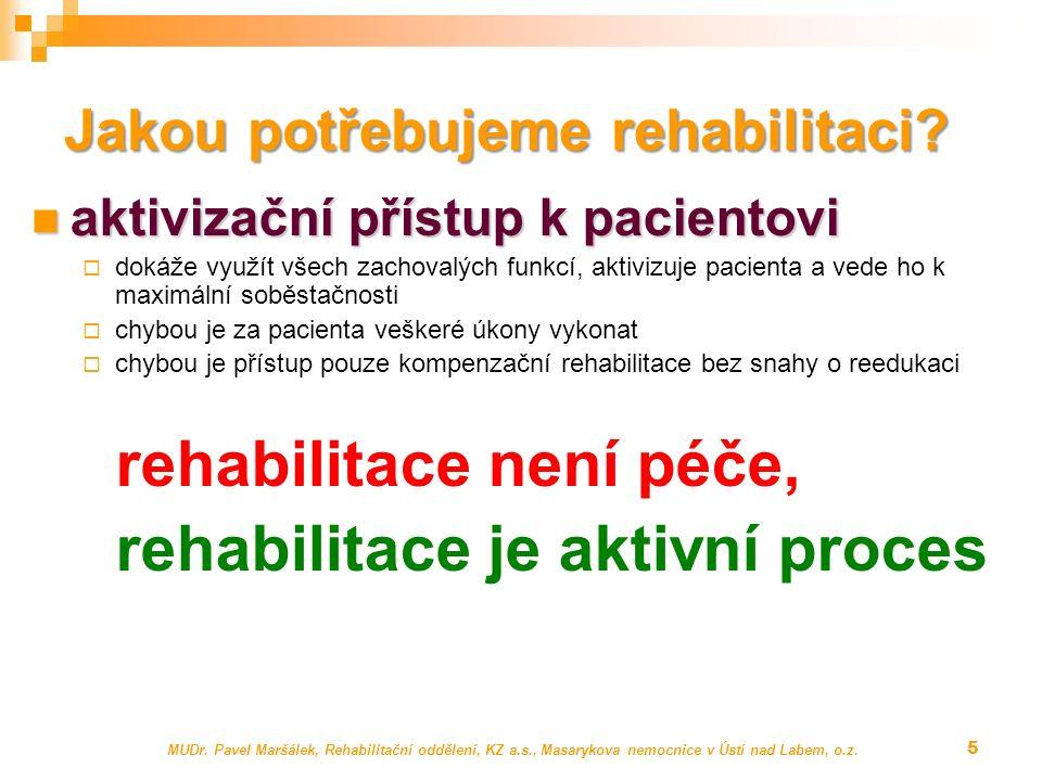 MUDr. Pavel Maršálek, Rehabilitační oddělení, KZ a.s., Masarykova nemocnice v Ústí nad Labem, o.z. 5 Jakou potřebujeme rehabilitaci? aktivizační příst
