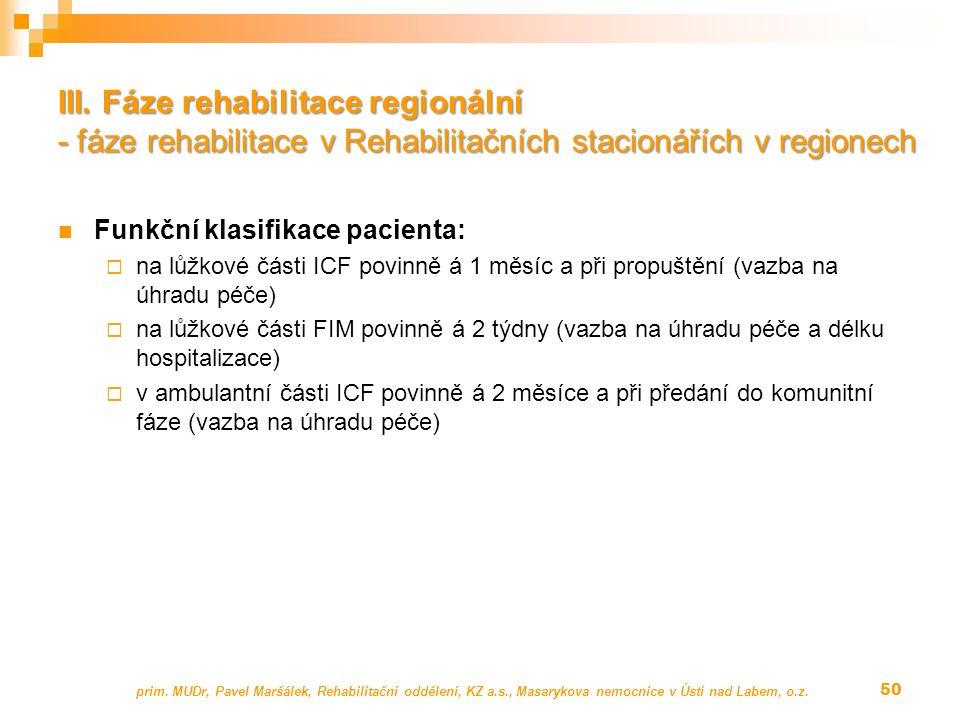 Funkční klasifikace pacienta:  na lůžkové části ICF povinně á 1 měsíc a při propuštění (vazba na úhradu péče)  na lůžkové části FIM povinně á 2 týdn