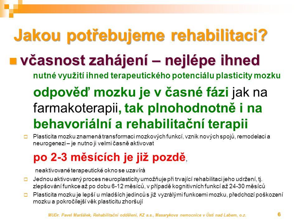 MUDr. Pavel Maršálek, Rehabilitační oddělení, KZ a.s., Masarykova nemocnice v Ústí nad Labem, o.z. 6 Jakou potřebujeme rehabilitaci? včasnost zahájení