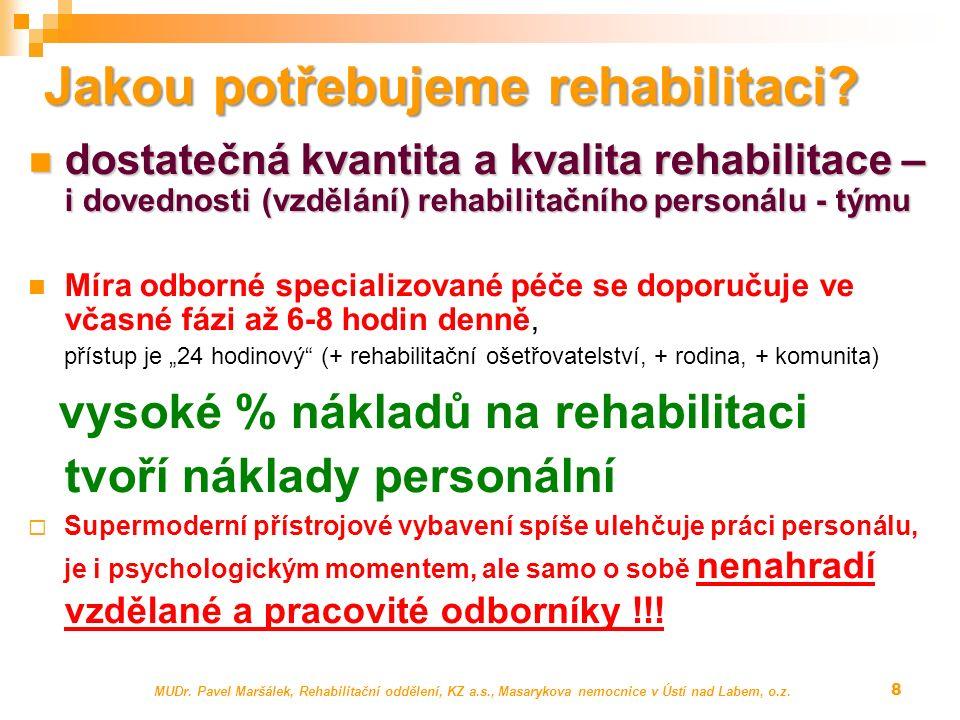 MUDr. Pavel Maršálek, Rehabilitační oddělení, KZ a.s., Masarykova nemocnice v Ústí nad Labem, o.z. 8 Jakou potřebujeme rehabilitaci? dostatečná kvanti