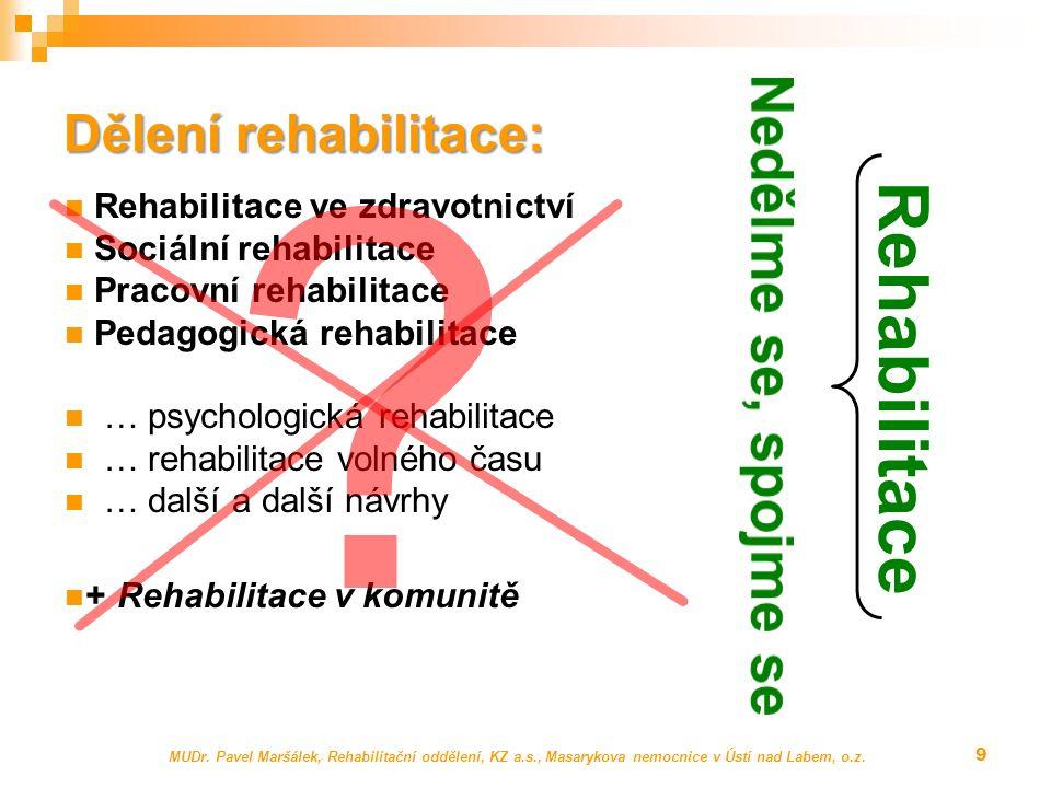 MUDr. Pavel Maršálek, Rehabilitační oddělení, KZ a.s., Masarykova nemocnice v Ústí nad Labem, o.z. 9 Dělení rehabilitace: Rehabilitace ve zdravotnictv