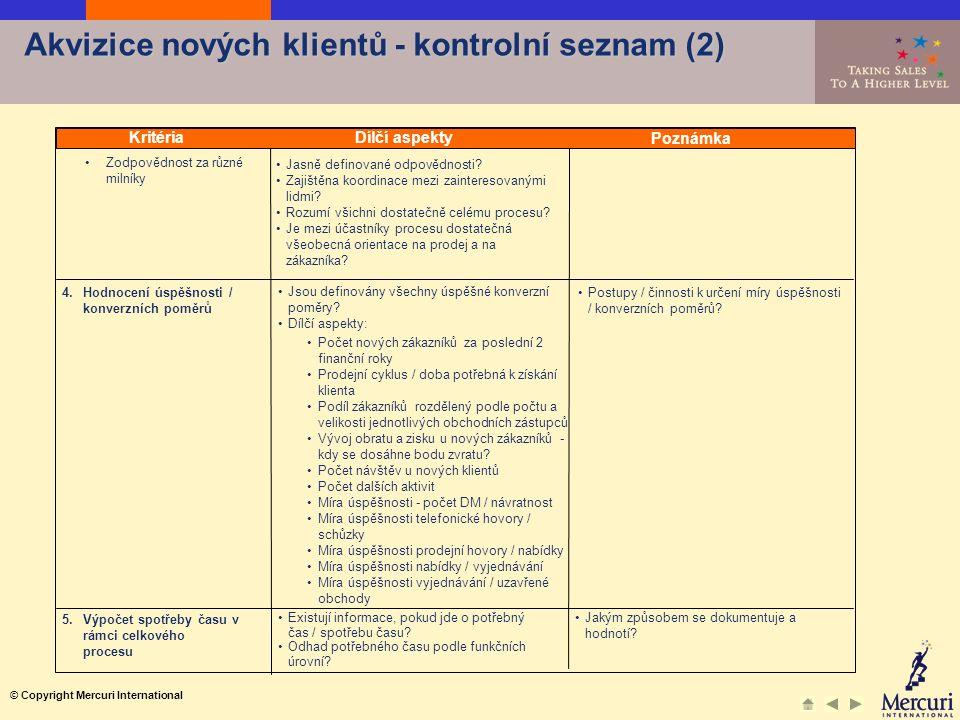 © Copyright Mercuri International 4.Hodnocení úspěšnosti / konverzních poměrů 5.Výpočet spotřeby času v rámci celkového procesu Zodpovědnost za různé milníky Jasně definované odpovědnosti.