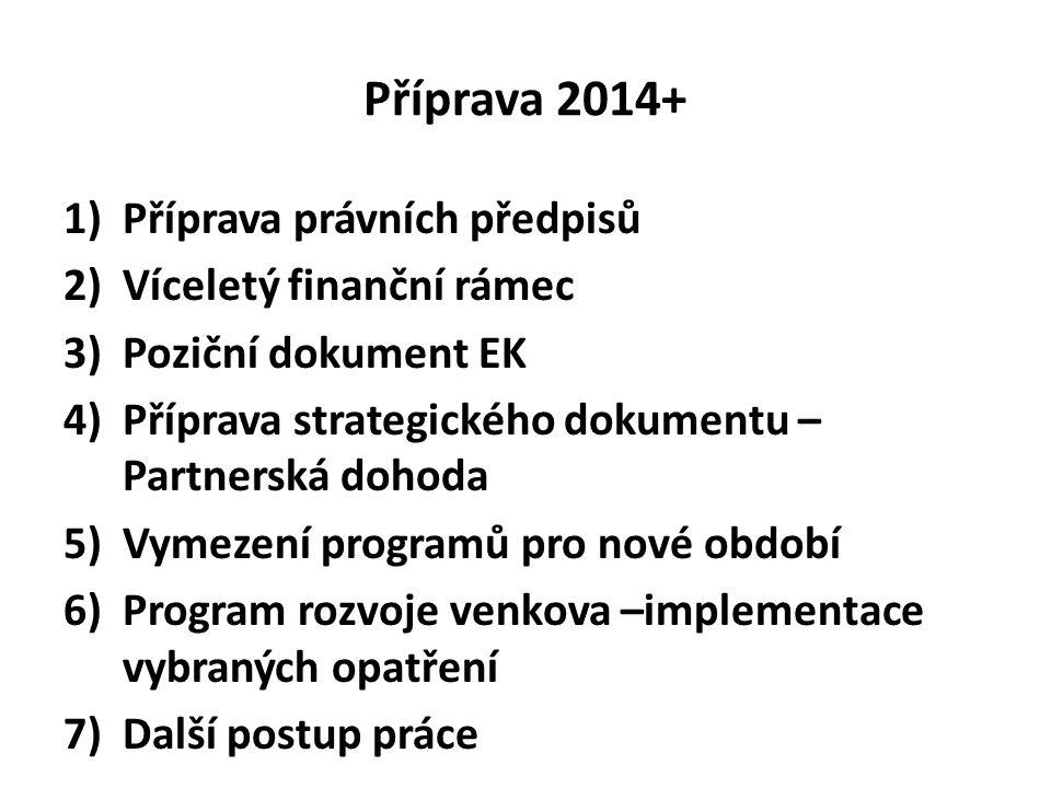 Příprava 2014+ 1)Příprava právních předpisů 2)Víceletý finanční rámec 3)Poziční dokument EK 4)Příprava strategického dokumentu – Partnerská dohoda 5)V