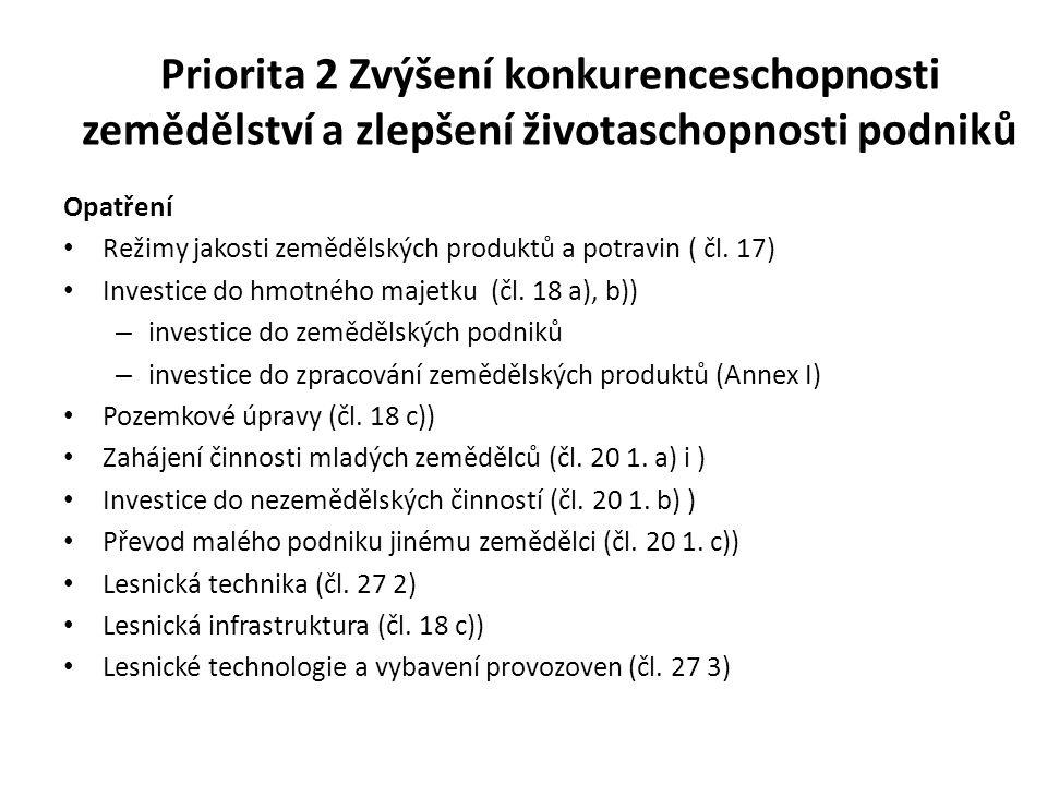 Priorita 2 Zvýšení konkurenceschopnosti zemědělství a zlepšení životaschopnosti podniků Opatření Režimy jakosti zemědělských produktů a potravin ( čl.