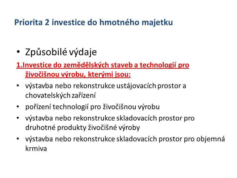 Priorita 2 investice do hmotného majetku Způsobilé výdaje 1.Investice do zemědělských staveb a technologií pro živočišnou výrobu, kterými jsou: výstav