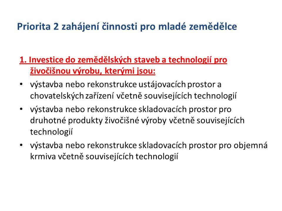 Priorita 2 zahájení činnosti pro mladé zemědělce 1. Investice do zemědělských staveb a technologií pro živočišnou výrobu, kterými jsou: výstavba nebo