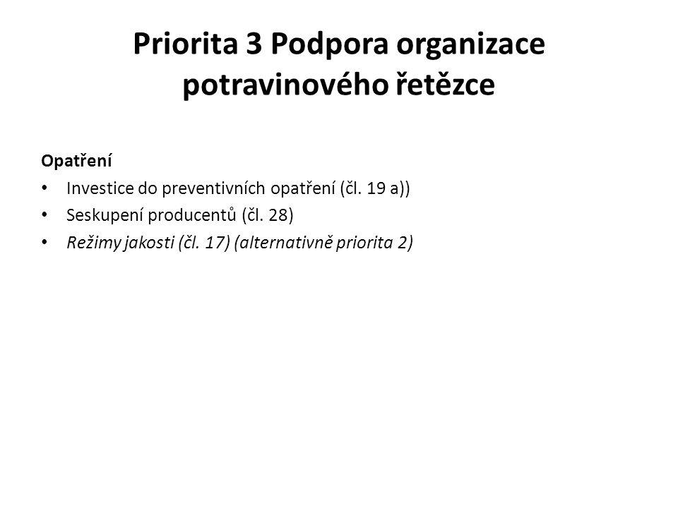 Priorita 3 Podpora organizace potravinového řetězce Opatření Investice do preventivních opatření (čl. 19 a)) Seskupení producentů (čl. 28) Režimy jako