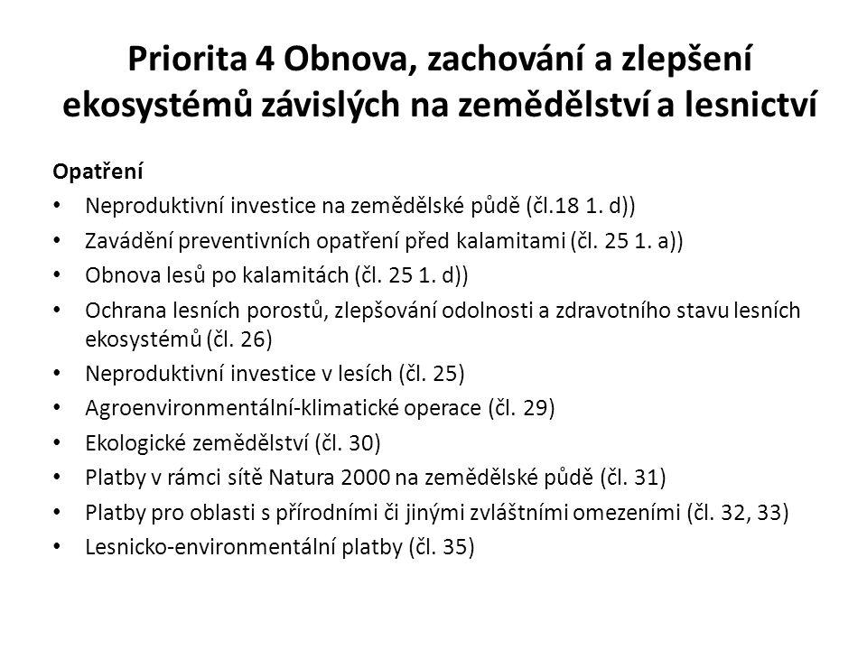 Priorita 4 Obnova, zachování a zlepšení ekosystémů závislých na zemědělství a lesnictví Opatření Neproduktivní investice na zemědělské půdě (čl.18 1.