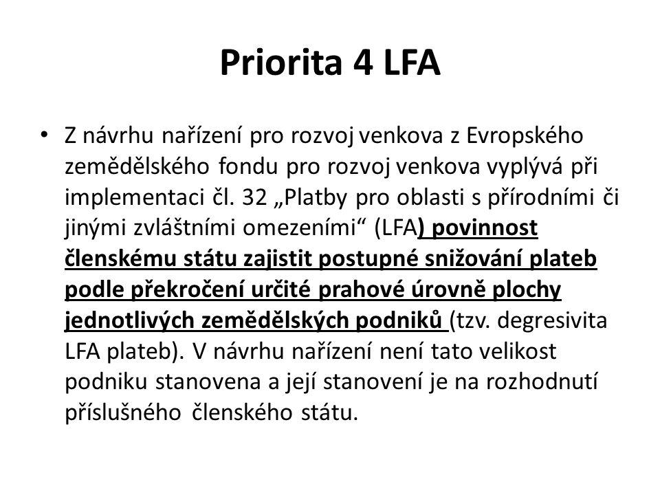 """Priorita 4 LFA Z návrhu nařízení pro rozvoj venkova z Evropského zemědělského fondu pro rozvoj venkova vyplývá při implementaci čl. 32 """"Platby pro obl"""