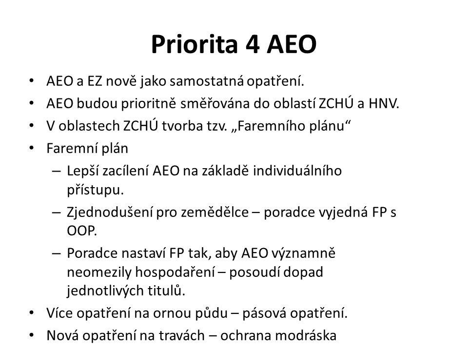 """Priorita 4 AEO AEO a EZ nově jako samostatná opatření. AEO budou prioritně směřována do oblastí ZCHÚ a HNV. V oblastech ZCHÚ tvorba tzv. """"Faremního pl"""