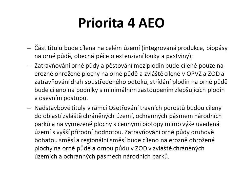 Priorita 4 AEO – Část titulů bude cílena na celém území (integrovaná produkce, biopásy na orné půdě, obecná péče o extenzivní louky a pastviny); – Zat