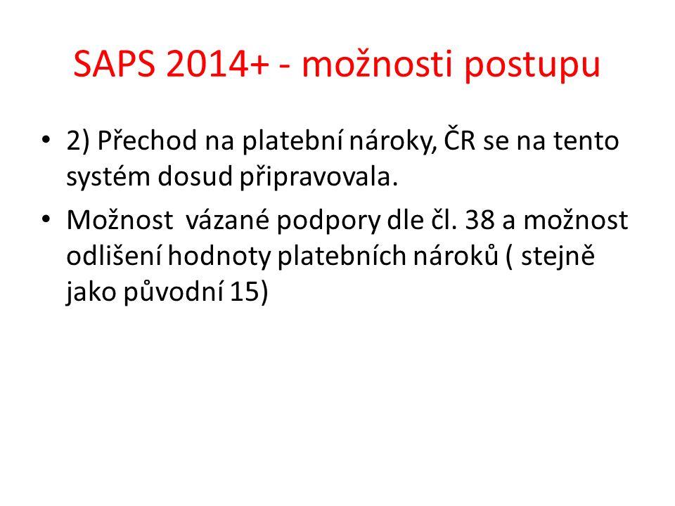 SAPS 2014+ - možnosti postupu 2) Přechod na platební nároky, ČR se na tento systém dosud připravovala. Možnost vázané podpory dle čl. 38 a možnost odl
