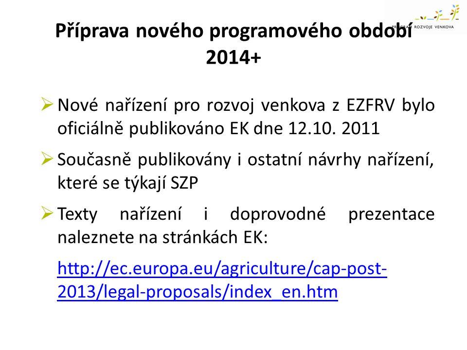 Příprava nového programového období 2014+  Nové nařízení pro rozvoj venkova z EZFRV bylo oficiálně publikováno EK dne 12.10. 2011  Současně publikov