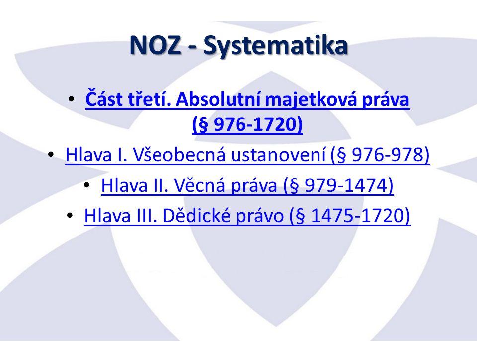NOZ - Systematika Část třetí. Absolutní majetková práva (§ 976-1720) Část třetí.