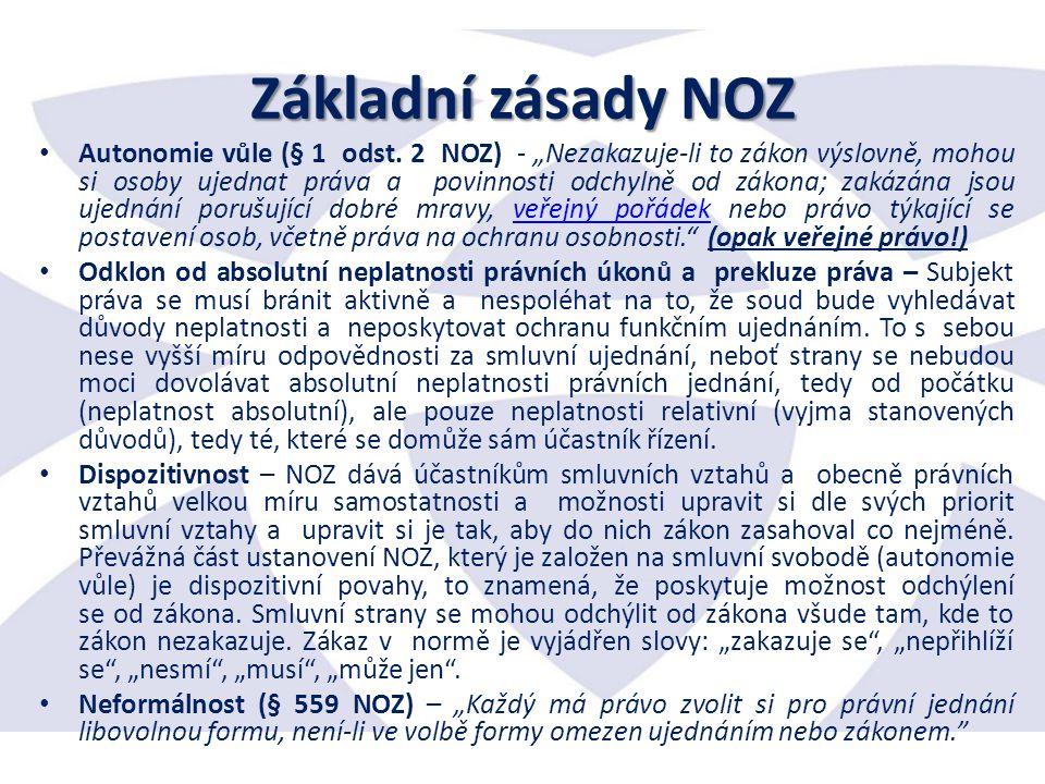 Základní zásady NOZ Autonomie vůle (§ 1 odst.