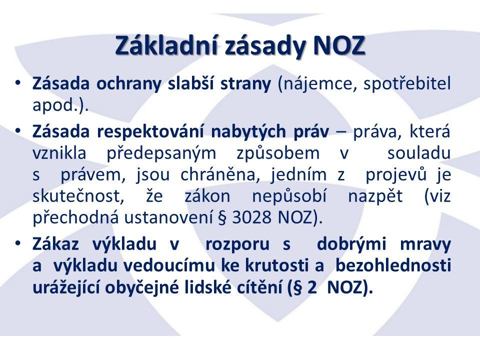 Základní zásady NOZ Zásada ochrany slabší strany (nájemce, spotřebitel apod.).