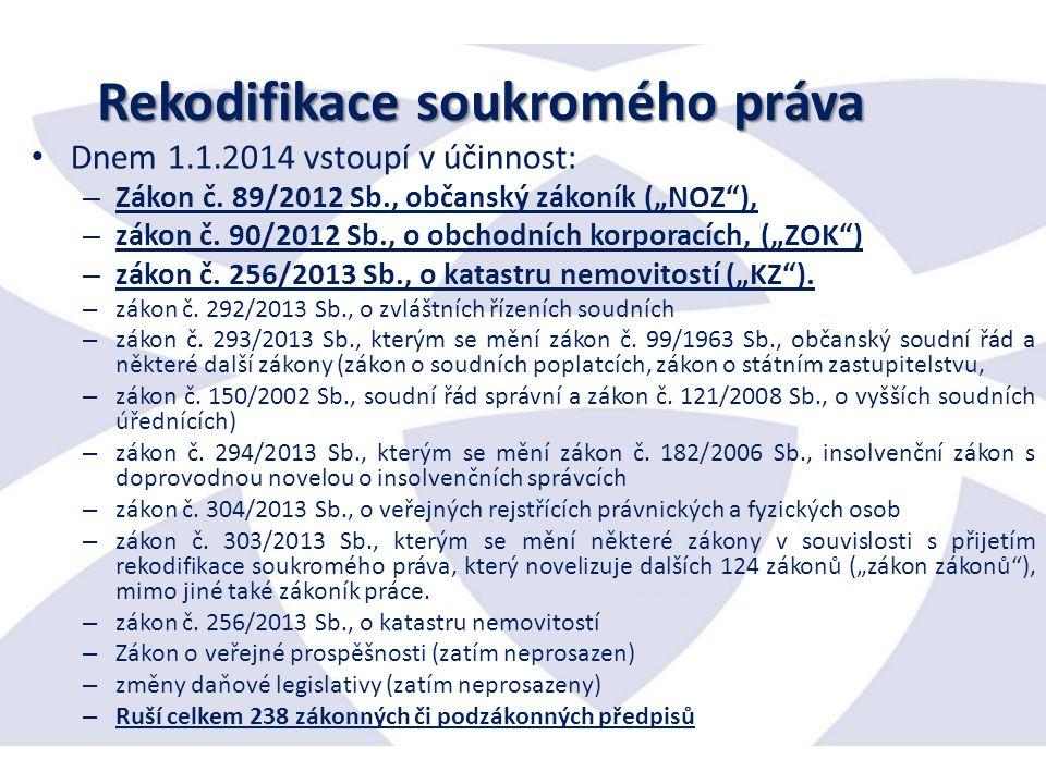Rekodifikace soukromého práva Dnem 1.1.2014 vstoupí v účinnost: – Zákon č.