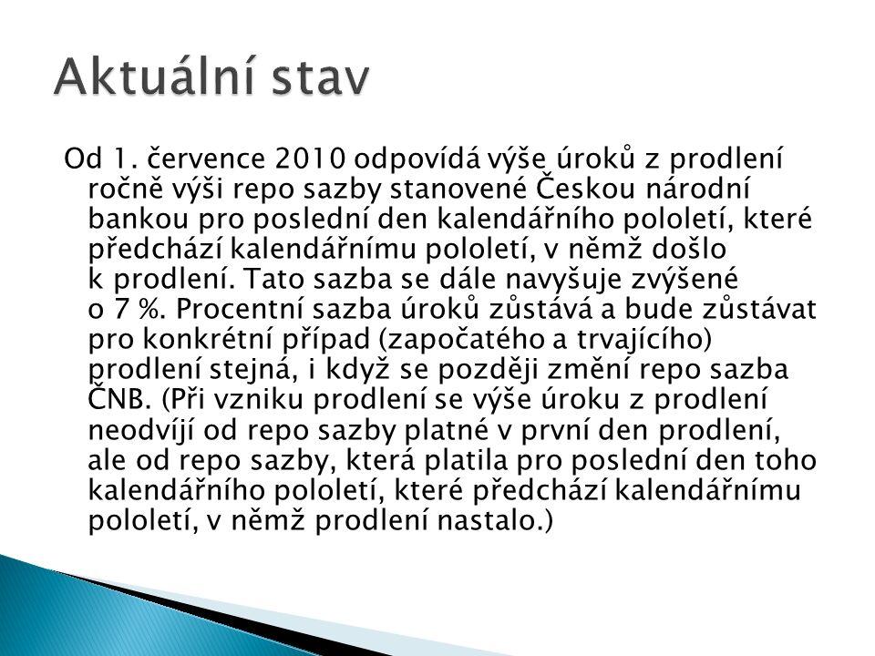 Od 1. července 2010 odpovídá výše úroků z prodlení ročně výši repo sazby stanovené Českou národní bankou pro poslední den kalendářního pololetí, které