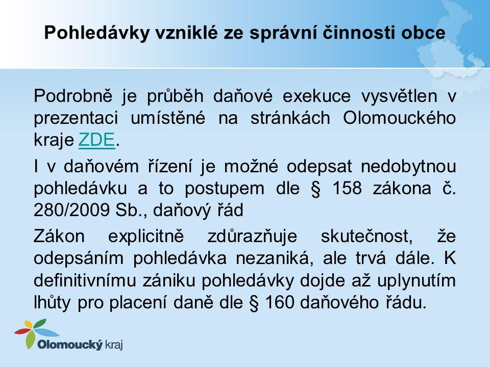 Pohledávky vzniklé ze správní činnosti obce Podrobně je průběh daňové exekuce vysvětlen v prezentaci umístěné na stránkách Olomouckého kraje ZDE.ZDE I v daňovém řízení je možné odepsat nedobytnou pohledávku a to postupem dle § 158 zákona č.