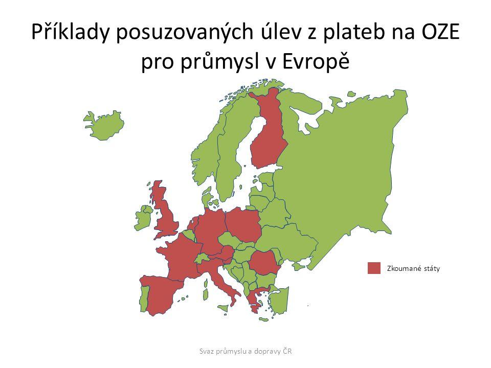 Příklady posuzovaných úlev z plateb na OZE pro průmysl v Evropě Zkoumané státy