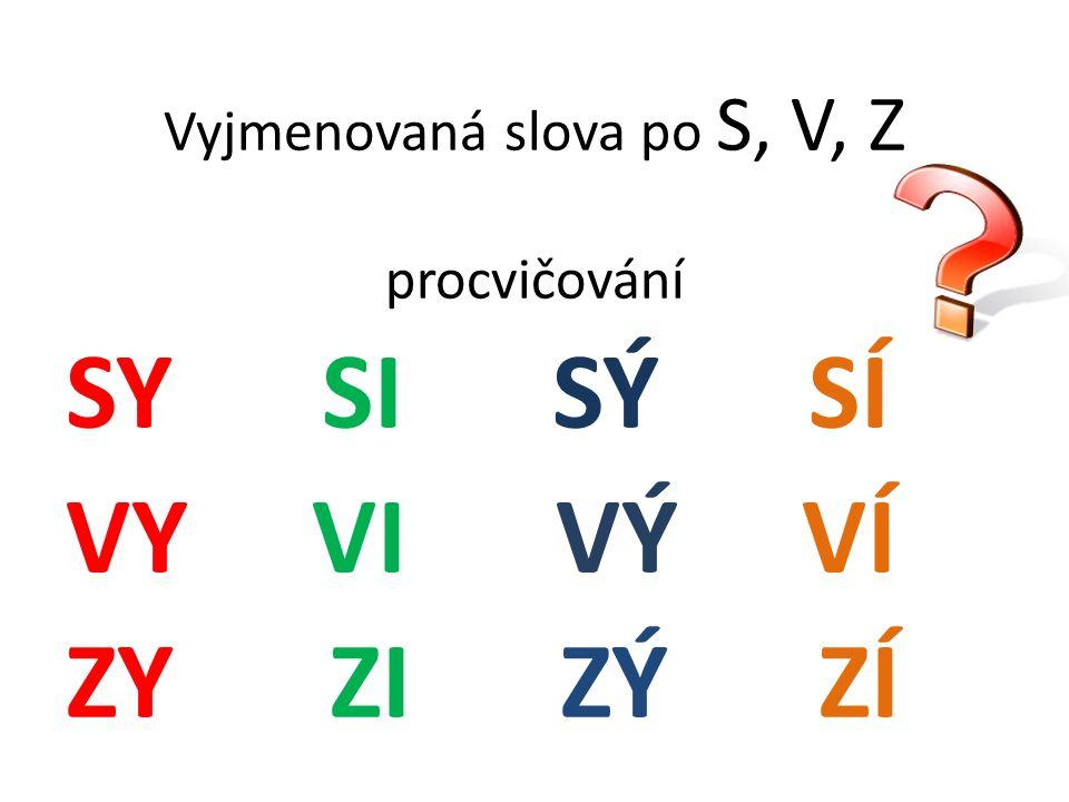 Vyjmenovaná slova po S, V, Z procvičování SY SI SÝ SÍ VY VI VÝ VÍ ZY ZI ZÝ ZÍ