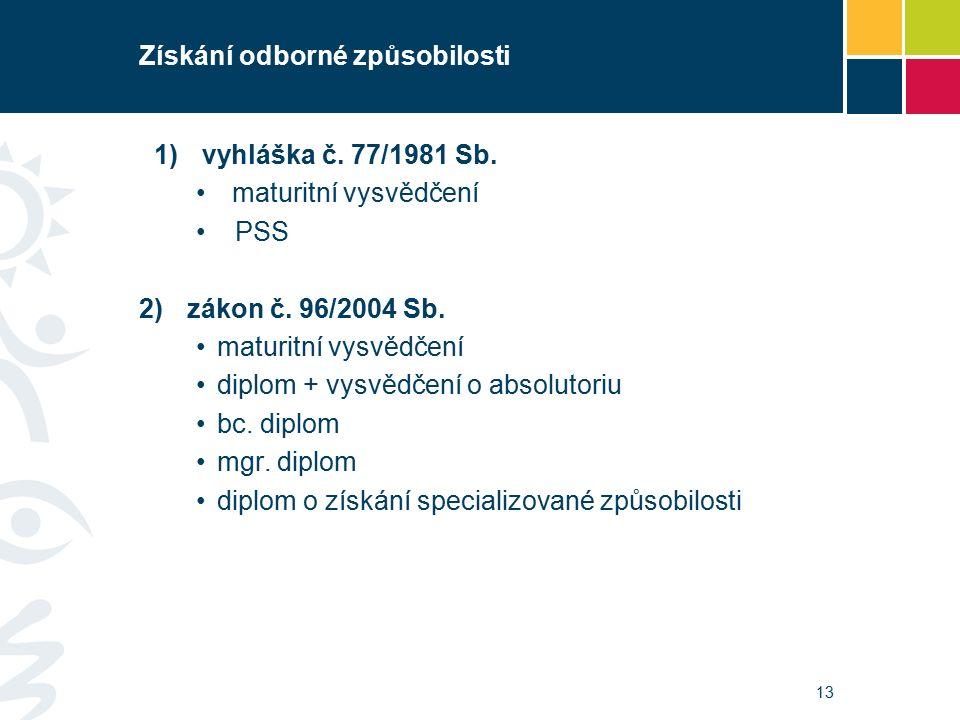 Získání odborné způsobilosti 1)vyhláška č. 77/1981 Sb.