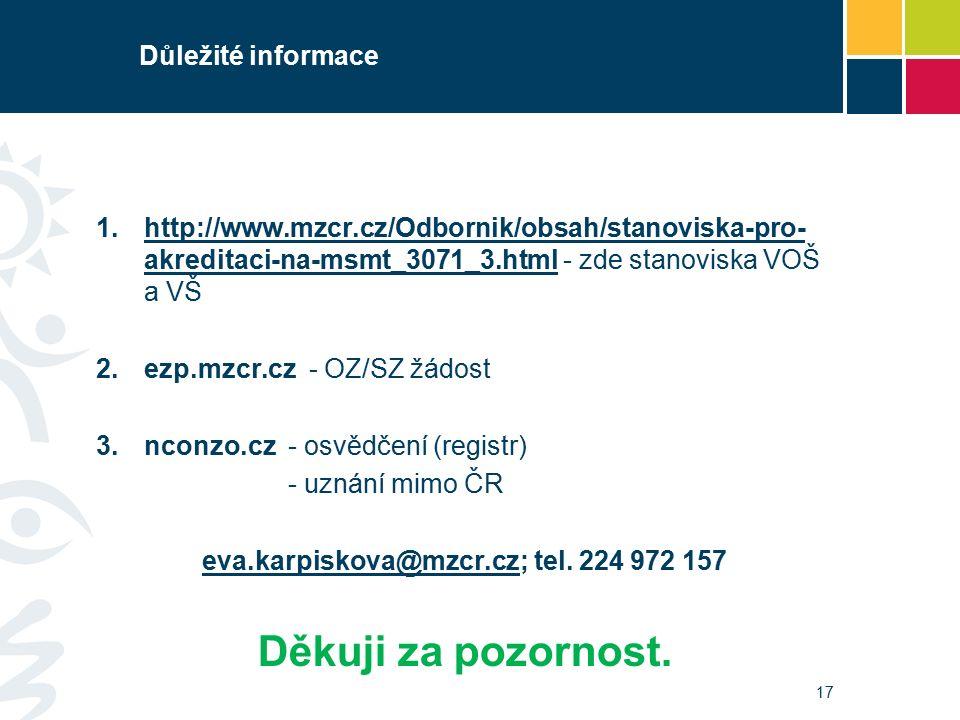 Důležité informace 1.http://www.mzcr.cz/Odbornik/obsah/stanoviska-pro- akreditaci-na-msmt_3071_3.html - zde stanoviska VOŠ a VŠhttp://www.mzcr.cz/Odbornik/obsah/stanoviska-pro- akreditaci-na-msmt_3071_3.html 2.ezp.mzcr.cz - OZ/SZ žádost 3.nconzo.cz- osvědčení (registr) - uznání mimo ČR eva.karpiskova@mzcr.czeva.karpiskova@mzcr.cz; tel.