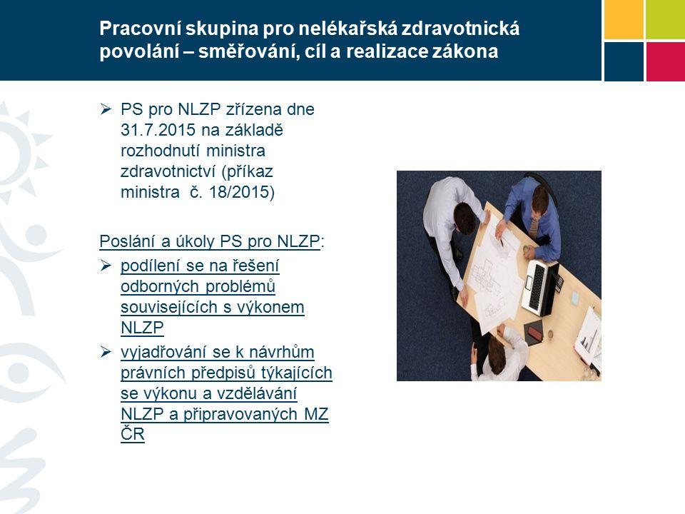 Pracovní skupina pro nelékařská zdravotnická povolání – směřování, cíl a realizace zákona  PS pro NLZP zřízena dne 31.7.2015 na základě rozhodnutí ministra zdravotnictví (příkaz ministra č.