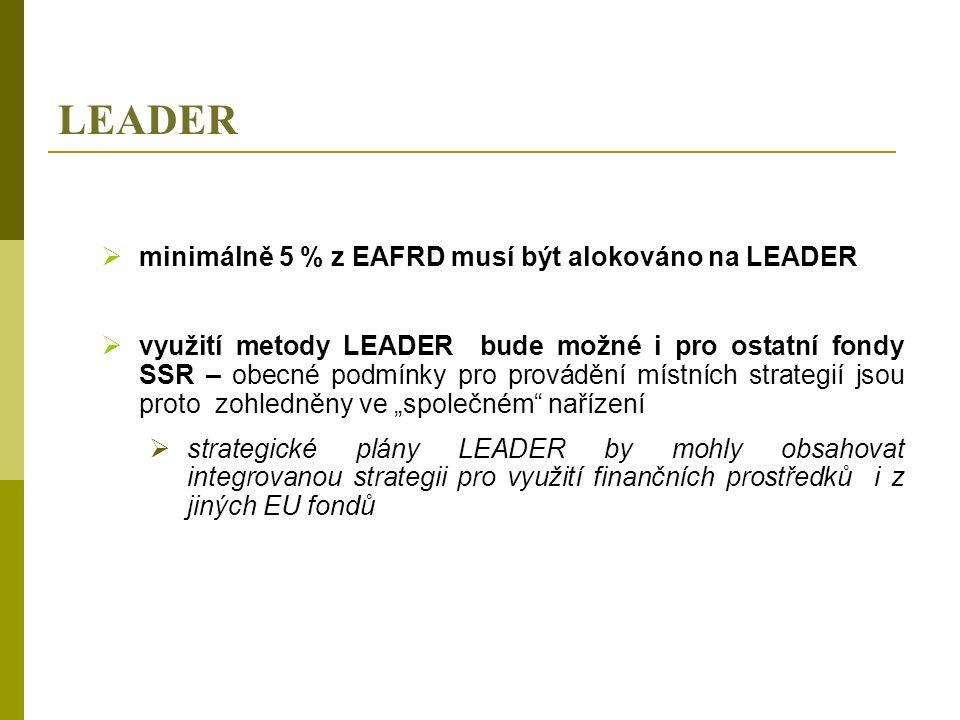 """LEADER  minimálně 5 % z EAFRD musí být alokováno na LEADER  využití metody LEADER bude možné i pro ostatní fondy SSR – obecné podmínky pro provádění místních strategií jsou proto zohledněny ve """"společném nařízení  strategické plány LEADER by mohly obsahovat integrovanou strategii pro využití finančních prostředků i z jiných EU fondů"""