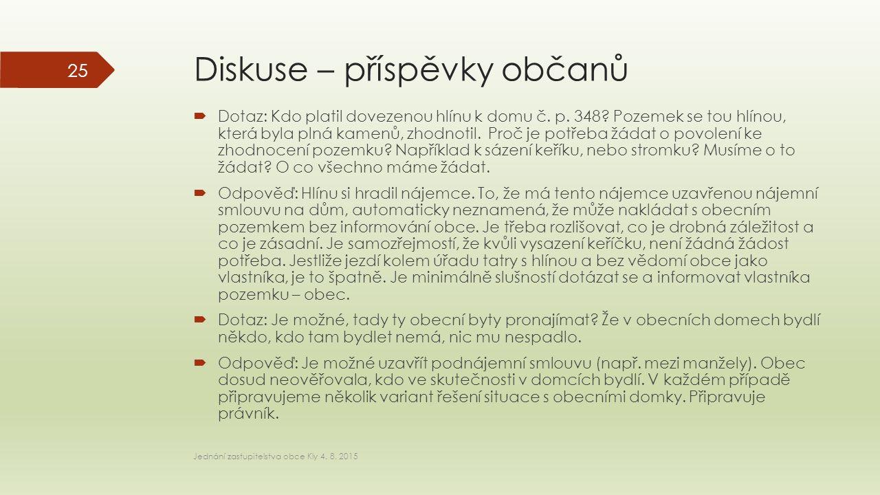 Diskuse – příspěvky občanů  Dotaz: Kdo platil dovezenou hlínu k domu č.