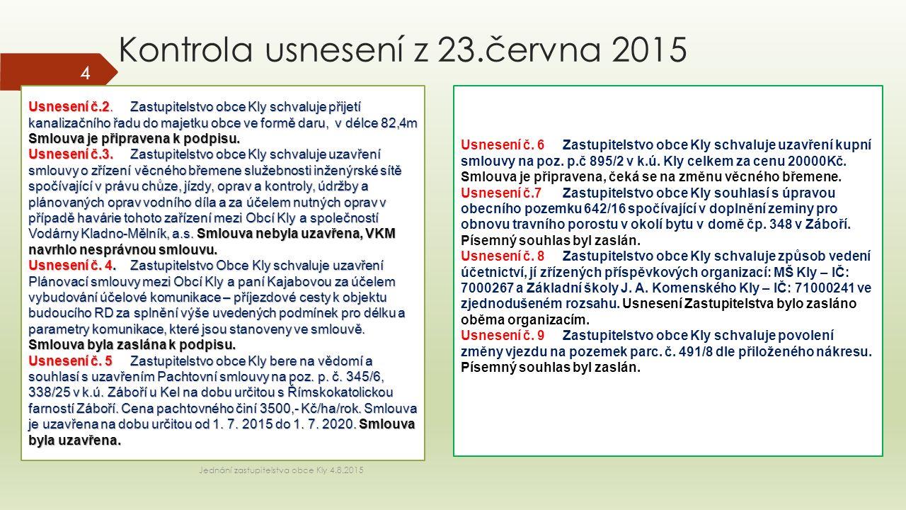 Kontrola usnesení z 23.června 2015 Usnesení č.