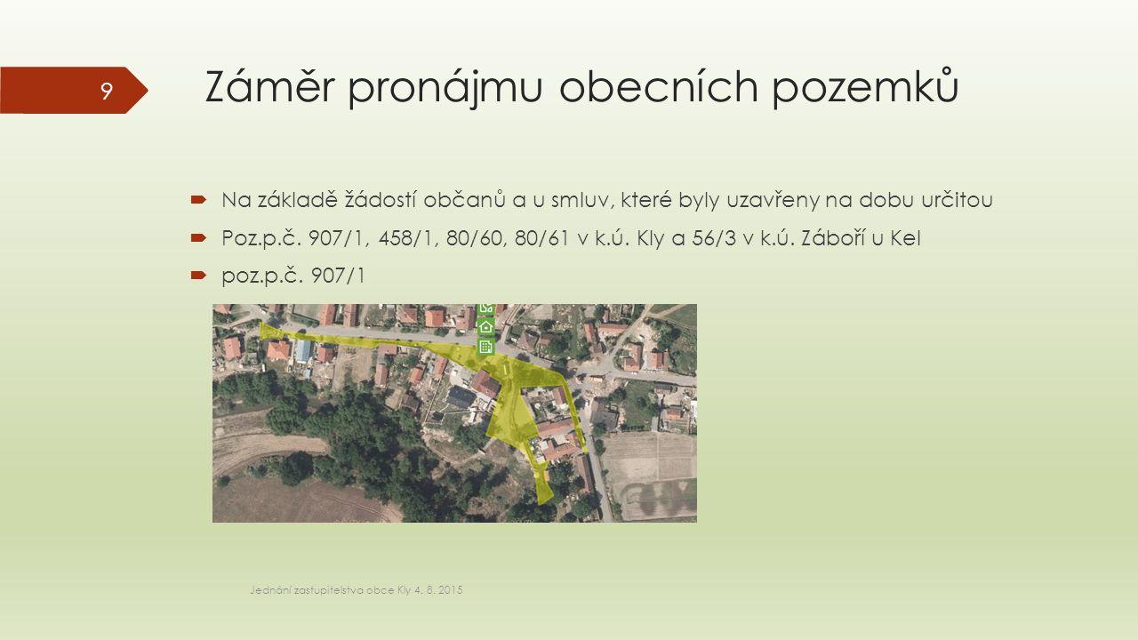 Záměr pronájmu obecních pozemků  Na základě žádostí občanů a u smluv, které byly uzavřeny na dobu určitou  Poz.p.č.