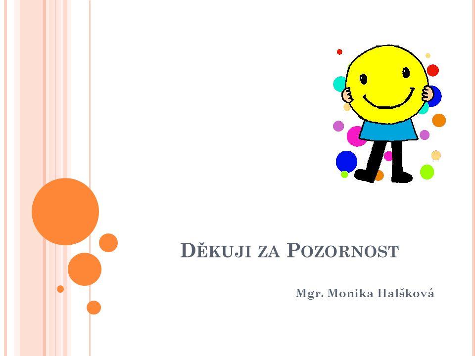 D ĚKUJI ZA P OZORNOST Mgr. Monika Halšková