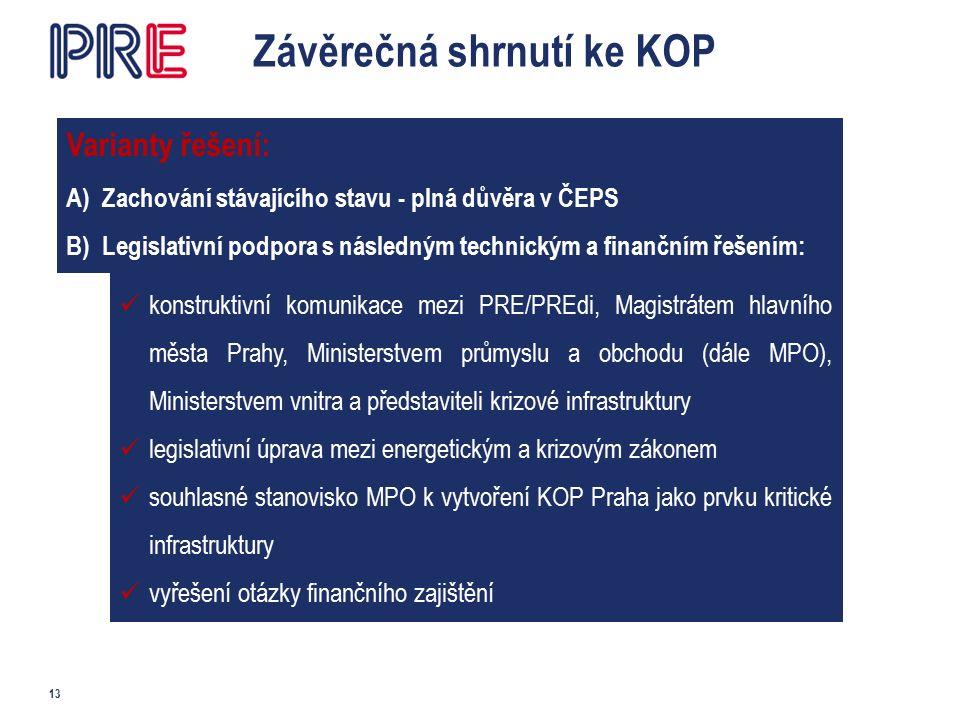 Závěrečná shrnutí ke KOP 13 Varianty řešení: A)Zachování stávajícího stavu - plná důvěra v ČEPS B)Legislativní podpora s následným technickým a finančním řešením: konstruktivní komunikace mezi PRE/PREdi, Magistrátem hlavního města Prahy, Ministerstvem průmyslu a obchodu (dále MPO), Ministerstvem vnitra a představiteli krizové infrastruktury legislativní úprava mezi energetickým a krizovým zákonem souhlasné stanovisko MPO k vytvoření KOP Praha jako prvku kritické infrastruktury vyřešení otázky finančního zajištění