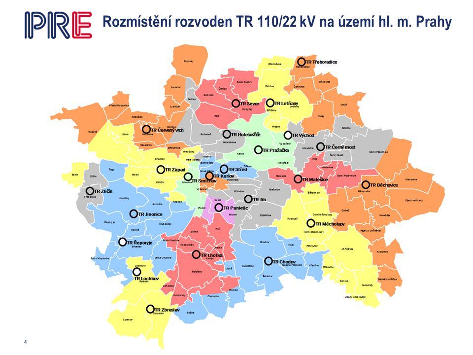 Rozmístění rozvoden TR 110/22 kV na území hl. m. Prahy 4