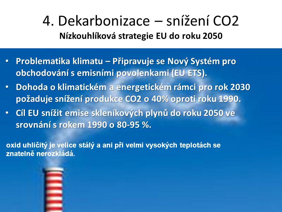 4. Dekarbonizace – snížení CO2 Nízkouhlíková strategie EU do roku 2050 Problematika klimatu – Připravuje se Nový Systém pro obchodování s emisními pov