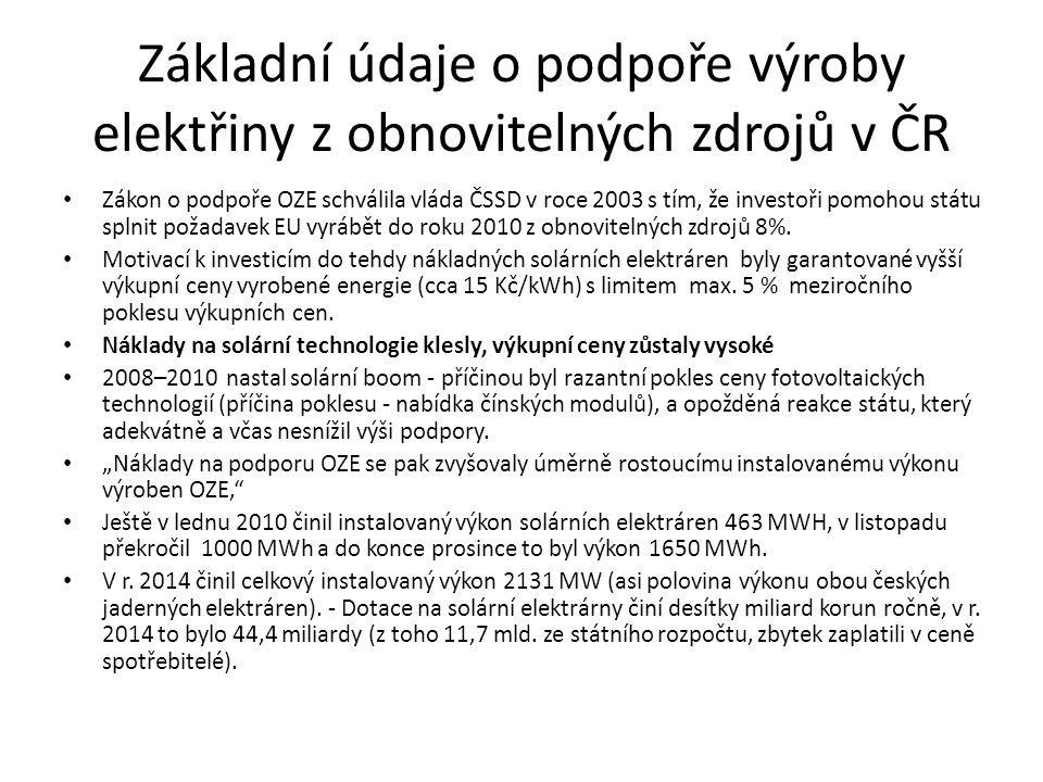Základní údaje o podpoře výroby elektřiny z obnovitelných zdrojů v ČR Zákon o podpoře OZE schválila vláda ČSSD v roce 2003 s tím, že investoři pomohou státu splnit požadavek EU vyrábět do roku 2010 z obnovitelných zdrojů 8%.