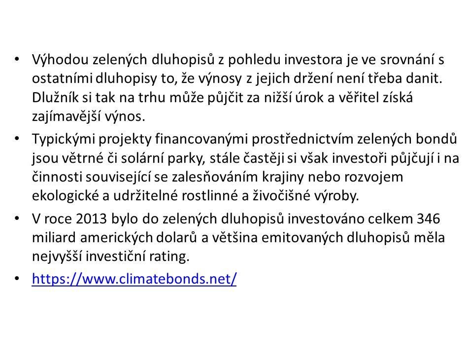 Výhodou zelených dluhopisů z pohledu investora je ve srovnání s ostatními dluhopisy to, že výnosy z jejich držení není třeba danit.