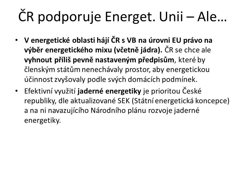 Energetický mix ČR primárních energetických zdrojů (SEK 2040) Jaderné palivo 30 – 35 % Tuhá paliva 12 – 17 % (uhlí je důležitá surovina pro chemický průmysl) Plynná paliva 20 – 25 % Kapalná paliva 14 – 17 % Obnovitelné a druhotné zdroje 17 – 22 % Cílem nástup decentralizovaných zdrojů výroby pro vlastní spotřebu.