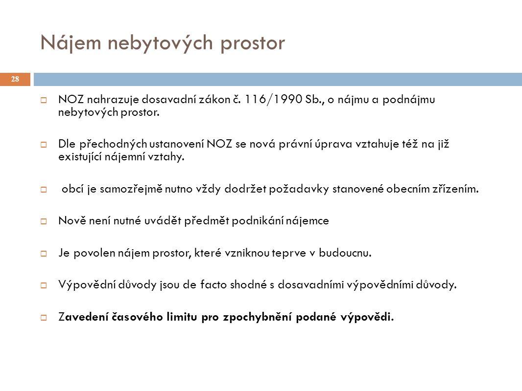 Nájem nebytových prostor 28  NOZ nahrazuje dosavadní zákon č.
