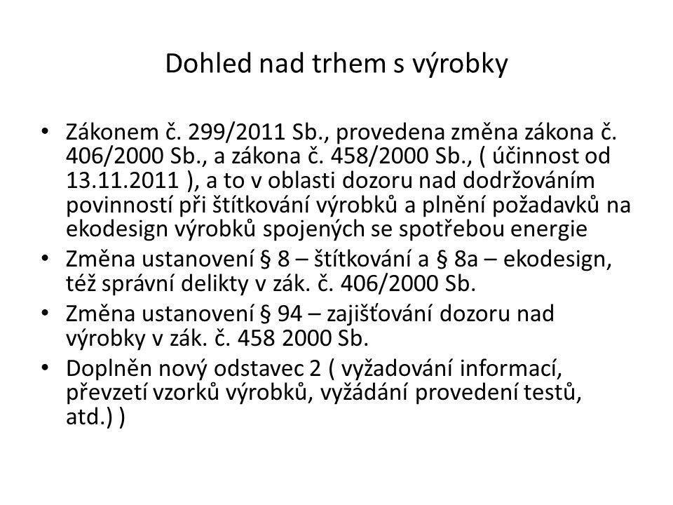 Dohled nad trhem s výrobky Zákonem č. 299/2011 Sb., provedena změna zákona č.