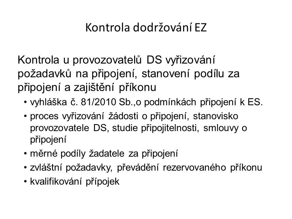 Kontrola dodržování EZ Kontrola u provozovatelů DS vyřizování požadavků na připojení, stanovení podílu za připojení a zajištění příkonu vyhláška č.