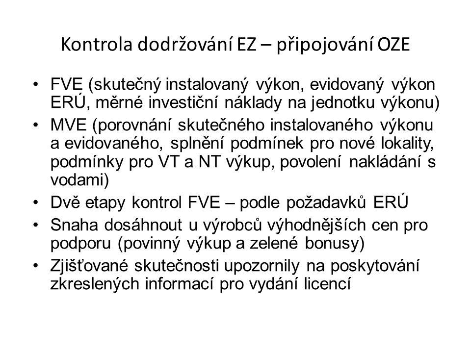 Kontrola dodržování EZ – připojování OZE FVE (skutečný instalovaný výkon, evidovaný výkon ERÚ, měrné investiční náklady na jednotku výkonu) MVE (porovnání skutečného instalovaného výkonu a evidovaného, splnění podmínek pro nové lokality, podmínky pro VT a NT výkup, povolení nakládání s vodami) Dvě etapy kontrol FVE – podle požadavků ERÚ Snaha dosáhnout u výrobců výhodnějších cen pro podporu (povinný výkup a zelené bonusy) Zjišťované skutečnosti upozornily na poskytování zkreslených informací pro vydání licencí