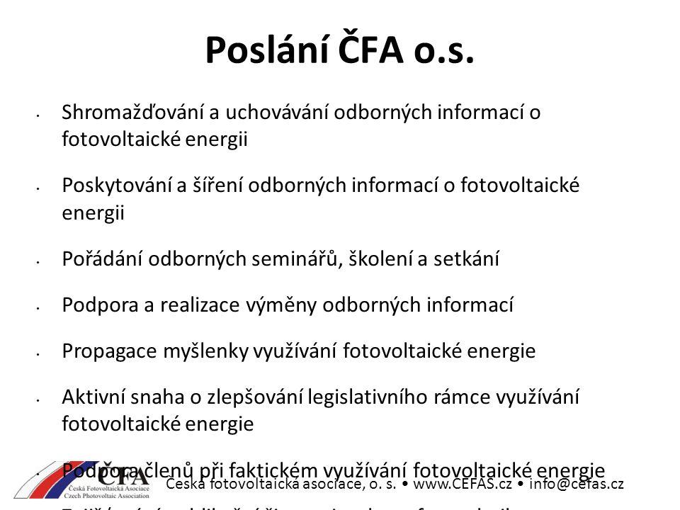 Česká fotovoltaická asociace, o. s. www.CEFAS.cz info@cefas.cz Poslání ČFA o.s.