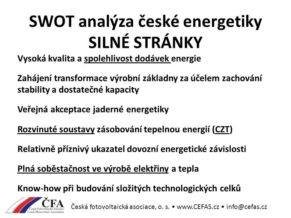SWOT analýza české energetiky SILNÉ STRÁNKY Vysoká kvalita a spolehlivost dodávek energie Zahájení transformace výrobní základny za účelem zachování stability a dostatečné kapacity Veřejná akceptace jaderné energetiky Rozvinuté soustavy zásobování tepelnou energií (CZT) Relativně příznivý ukazatel dovozní energetické závislosti Plná soběstačnost ve výrobě elektřiny a tepla Know-how při budování složitých technologických celků